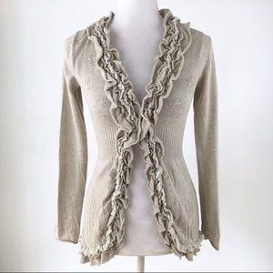 Anthro Guinevere ruffle cardigan sweater Curlytop